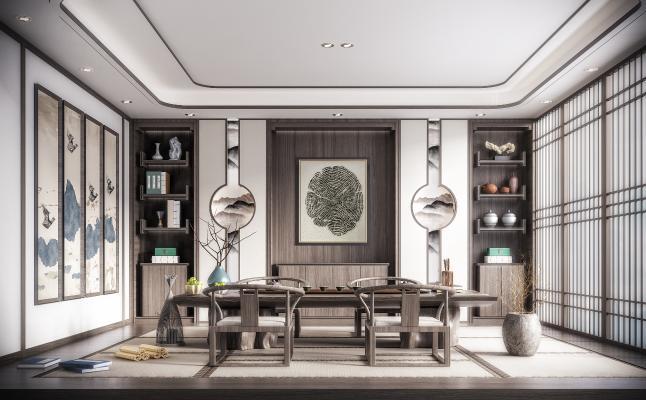 新中式禪意茶室3D模型【ID:646224172】