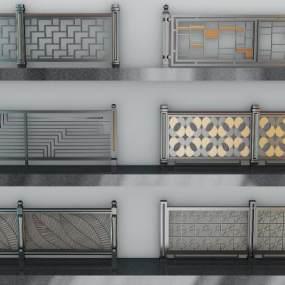 现代铁艺栏杆铁艺围栏3D模型【ID:343358378】