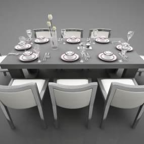 新中式風格餐桌3D模型【ID:847418872】