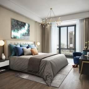 现代轻奢卧室3D模型【ID:533058287】