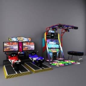 现代电玩城跳舞机摩托车桌面足球游戏机3D模型【ID:430594404】
