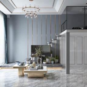 现代复式小公寓客餐厅厨房卧室3D模型【ID:535804001】