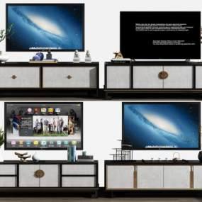 新中式电视柜摆件组合3D模型【ID:935675912】