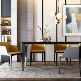 現代餐桌椅組合3D模型【ID:843742847】
