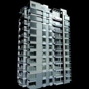 现代高档公寓楼3D模型【ID:132685761】