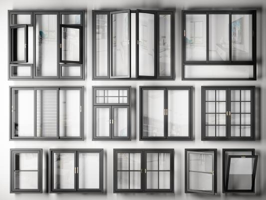 現代鋁合金窗戶組合3D模型【ID:346535299】