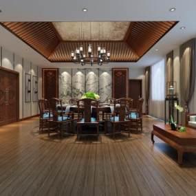 新中式餐厅包厢 3D模型【ID:642165855】