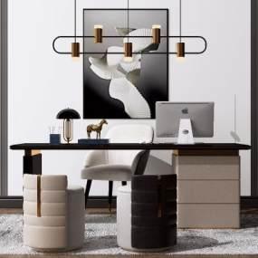 现代办公书桌椅组合3D模型【ID:953184171】