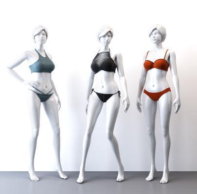 現代運動內衣女模特組合3D模型【ID:343877075】