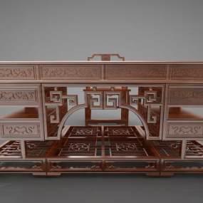 新中式風格書桌3D模型【ID:947418036】