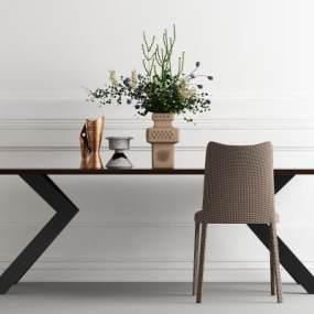 现代餐桌椅组合3D模型【ID:836161800】