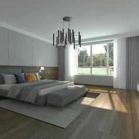 现代卧室3D模型【ID:534816222】