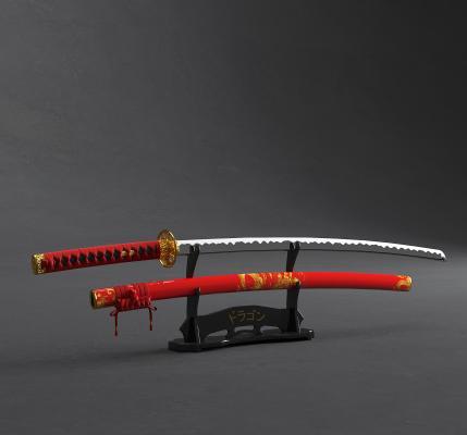 日式日本武士刀3D模型【ID:445483267】