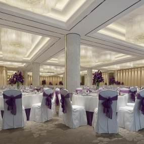 欧式餐厅3D模型【ID:653488205】