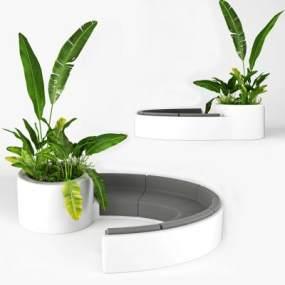 现代办公弧形沙发植物组合 365彩票【ID:640936958】