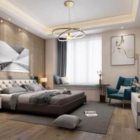现代卧室3D模型【ID:532002249】