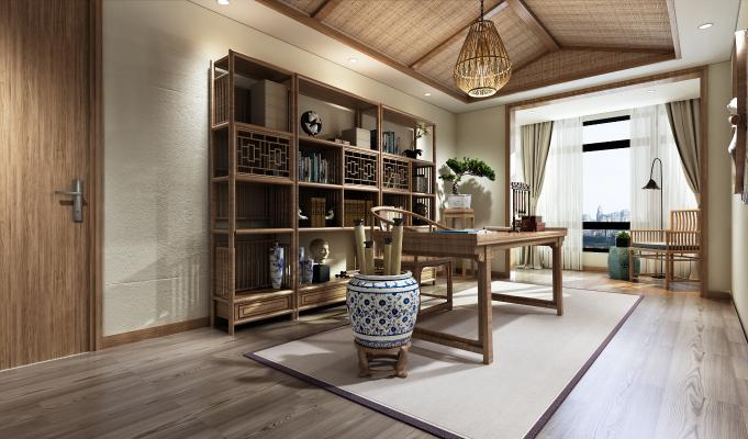 传统中式风格书房3D模型【ID:540651457】