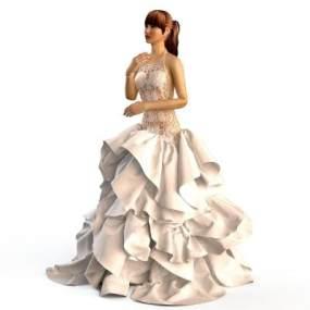 现代婚礼服晚礼服人物3D模型【ID:332721678】