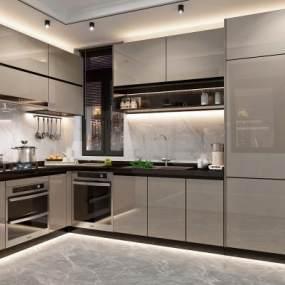 现代厨房3D模型【ID:535531394】