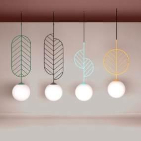 現代簡約時尚吊燈3D模型【ID:752603851】
