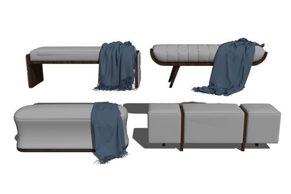 现代沙发凳矮凳脚踏组合SU模型【ID:847642591】
