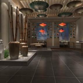 中式茶館3D模型【ID:642726561】