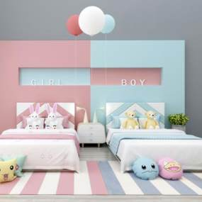 现代北欧简约儿童床组合3D模型【ID:836014880】