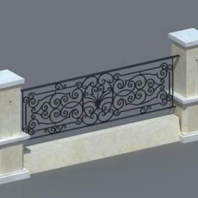 铁艺栏杆3D模型【ID:133069418】