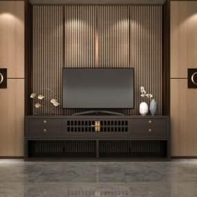 中式电视柜3D模型【ID:943243937】