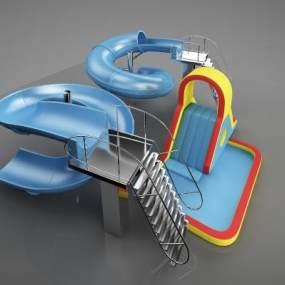 现代幼儿公共游乐设施3D模型【ID:932942644】