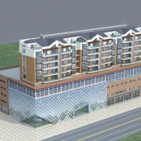 现代商业街住宅楼沿街楼3D模型【ID:132212641】