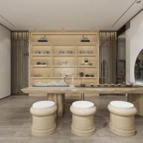新中式茶室茶具3D模型【ID:644183172】