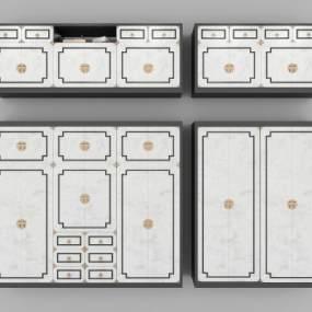 新中式衣柜裝飾柜組合3D模型【ID:134730467】