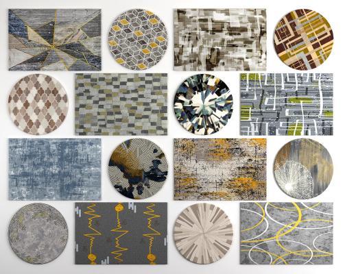 现代几何图案地毯3D模型【ID:345629295】