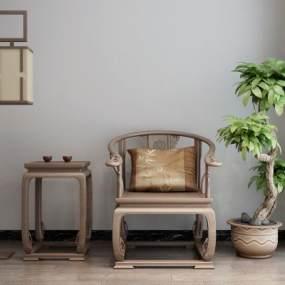 新中式休闲椅3D模型【ID:750383019】