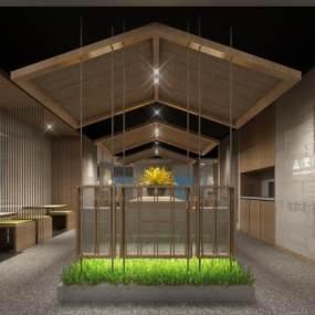 日式风格餐厅3D模型【ID:643450292】