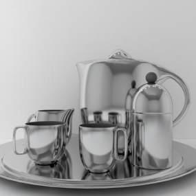 现代不锈钢茶具3D模型【ID:233635553】