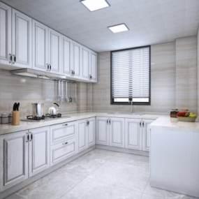 欧式简约厨房3D模型【ID:545554361】