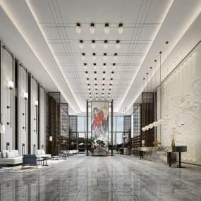 新中式酒店大堂3D模型【ID:753485033】