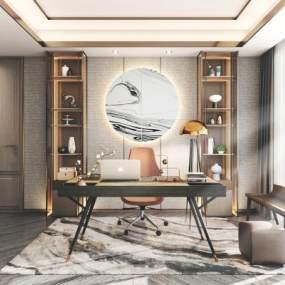 新中式書房3D模型【ID:542346408】