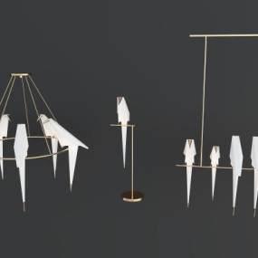 現代鳥燈組合3D模型【ID:746800852】