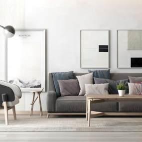 每日首存彩票平台谁有北歐簡約灰色沙發3D模型【ID:632494788】