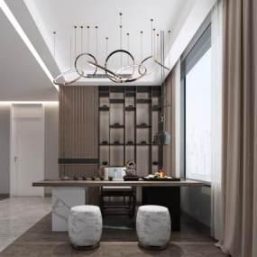 新中式茶室3D模型【ID:651001196】
