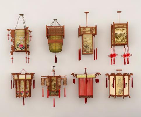 中式传统吊灯组合3D模型【ID:747707859】