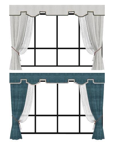 現代簡歐窗簾組合SU模型【ID:949371416】