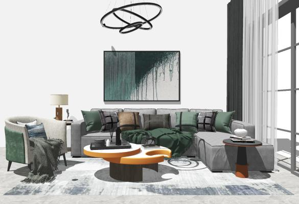 现代沙发茶几组合SU模型【ID:447998130】