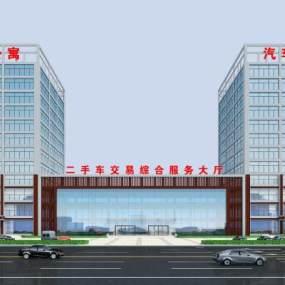 现代综合楼服务楼公寓楼3D模型【ID:132212921】