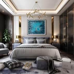 现代主卧室3D模型【ID:533090229】