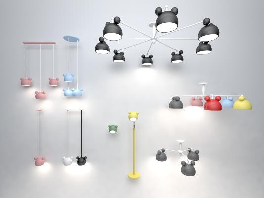 现代米奇吊灯组合3D模型【ID:832133472】