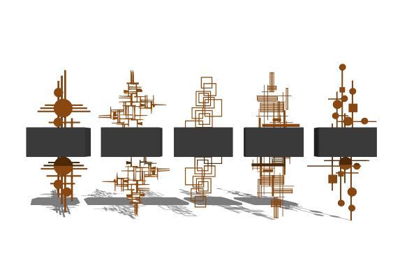 現代壁燈組合SU模型【ID:347651963】